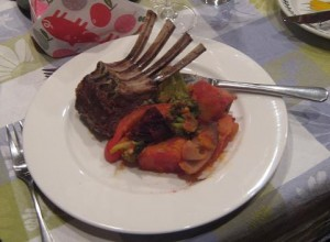 Rack of lamb basted with a garlic, pomegranate molasses & za'atar blend, with autumn vegetable medley