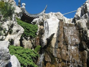 Falling water over rocks brought all the way from China.