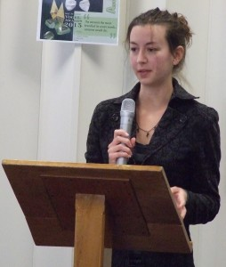 Rebecca delivering her speech; Photo, P Fitzpatrick